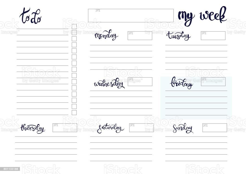 Ausgezeichnet Wöchentliche Planer Vorlage Ideen ...
