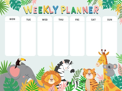Weekly planner for kid. Child schedule for week with tropical jungle animals and plants. Calendar for elementary school student vector table