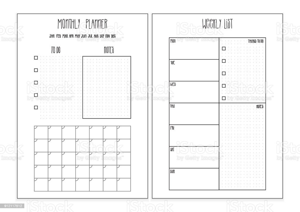 Weekly Planner Monthly Planner Printable Pages Vector Organizer ...