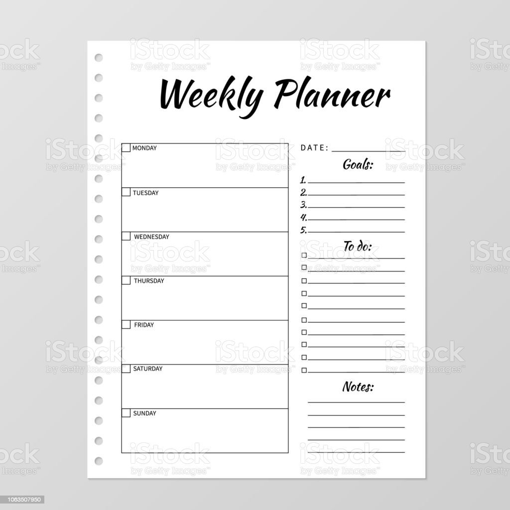 Weekly Planner Template Blank White Notebook Page Isolated On Grey Organizer Paper