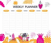 Weekly planner template design with vector leaves of tropical trees, heart,  fruits, crystal and space elements. Monstera, palm, constellations, comets, stars. Vector illustration