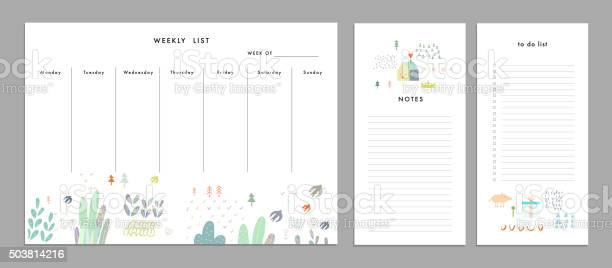 Weekly Planner Template Organizer And Schedule Stock Illustration - Download Image Now