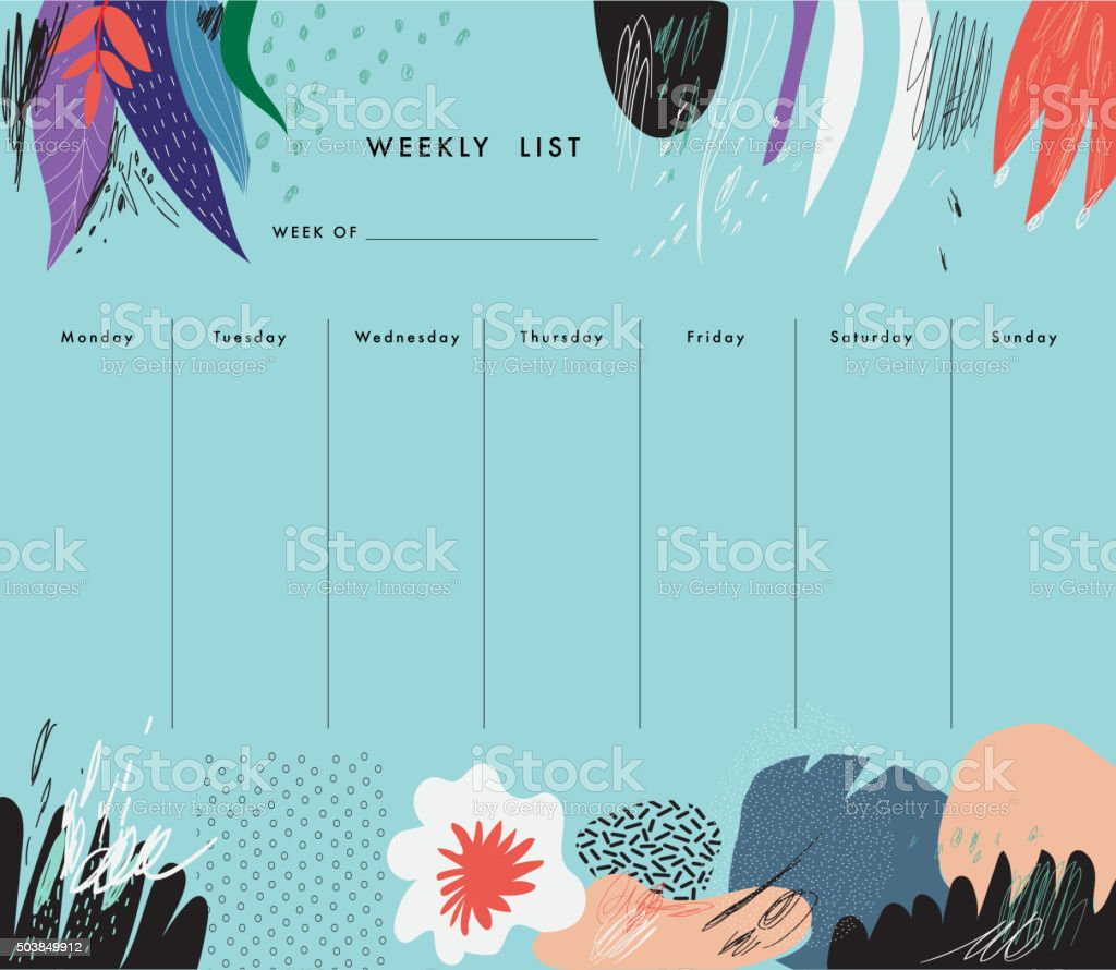 Weekly Planner Template. Organizer and Schedule vector art illustration