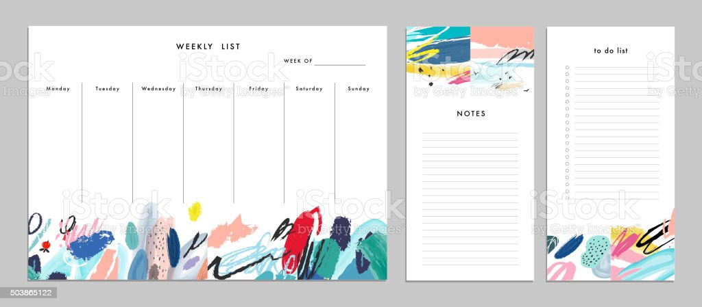 Weekly Planner Template. Organizer and Schedule with Notes and T vector art illustration