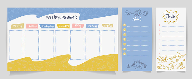 Weekly planner, to do list, notes in linear doodle flat style with cute dinos. Set of digital prints. Back to school. Flat lay, organizer mock up