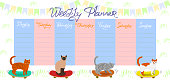 A weekly planner with cats on skateboards. Vector graphics.