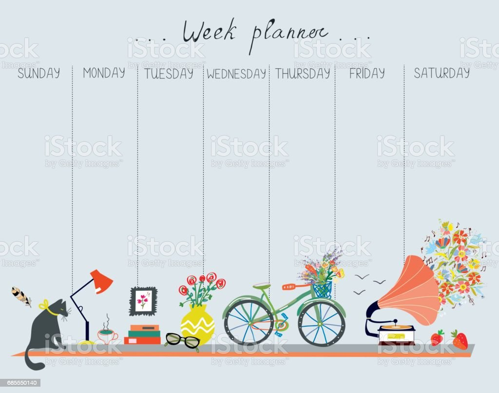 Planificador semanal con lindo diseño - objetos de casa, gato, bicicletas, flores, música. Ilustración de vector - ilustración de arte vectorial