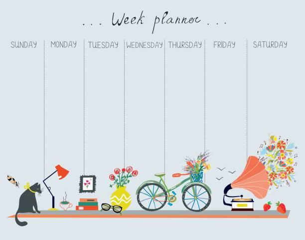 ilustraciones, imágenes clip art, dibujos animados e iconos de stock de planificador semanal con lindo diseño - objetos de casa, gato, bicicletas, flores, música. ilustración de vector - calendario de naturaleza