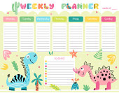 Kids weekly planner and to do list with cute smiling dinosaurs. A timetable for elementary school. Vector illustration.