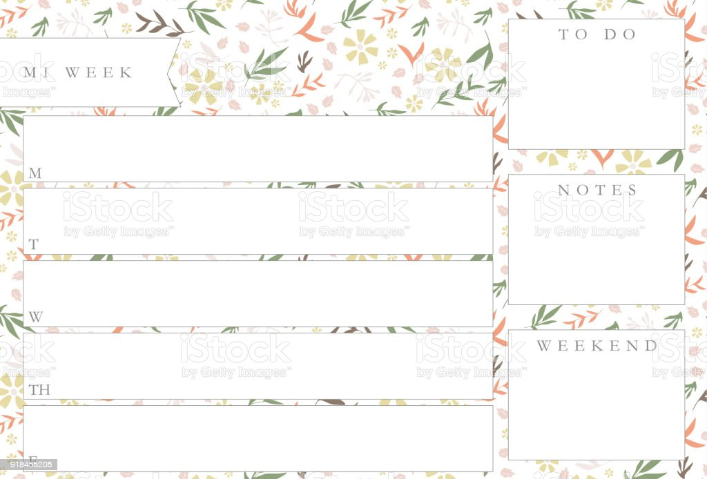 Weekly Planner With Flowers Stationery Organizer For Daily ...