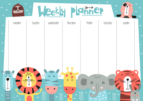weekly planner with funny forest animals