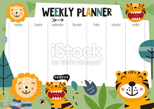 istock weekly planner with jungle animals 1215304821