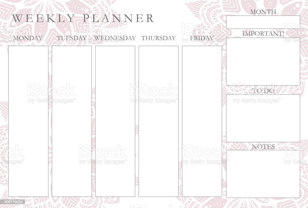 weekly planner with mandalas stationery organizer for daily plans