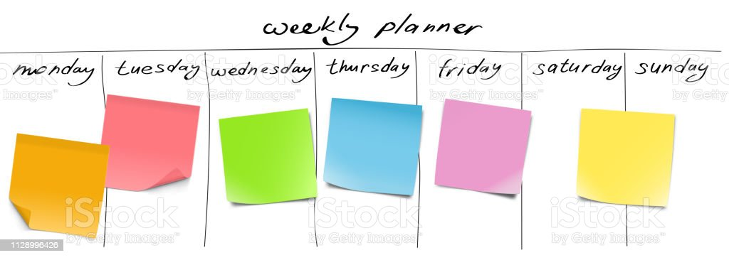 Weekly Planner With Memory Notes And Hand Draw Signs Stock