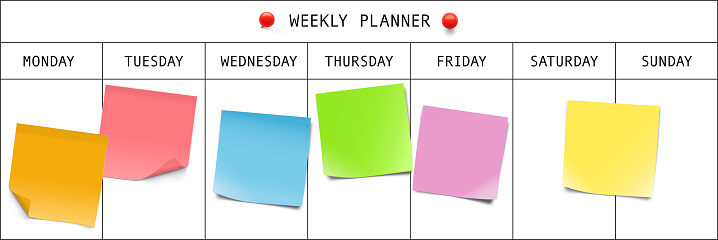 Weekly planner with memory notes. Vector illustration.