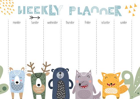 weekly planner with scandinavian animals