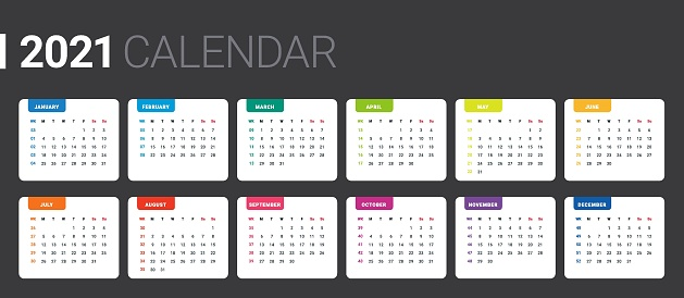 2021 Weekly Planning Calendar. Colorful, minimal and Basic grid. Calendar with week numbers. Week Starts on Monday.