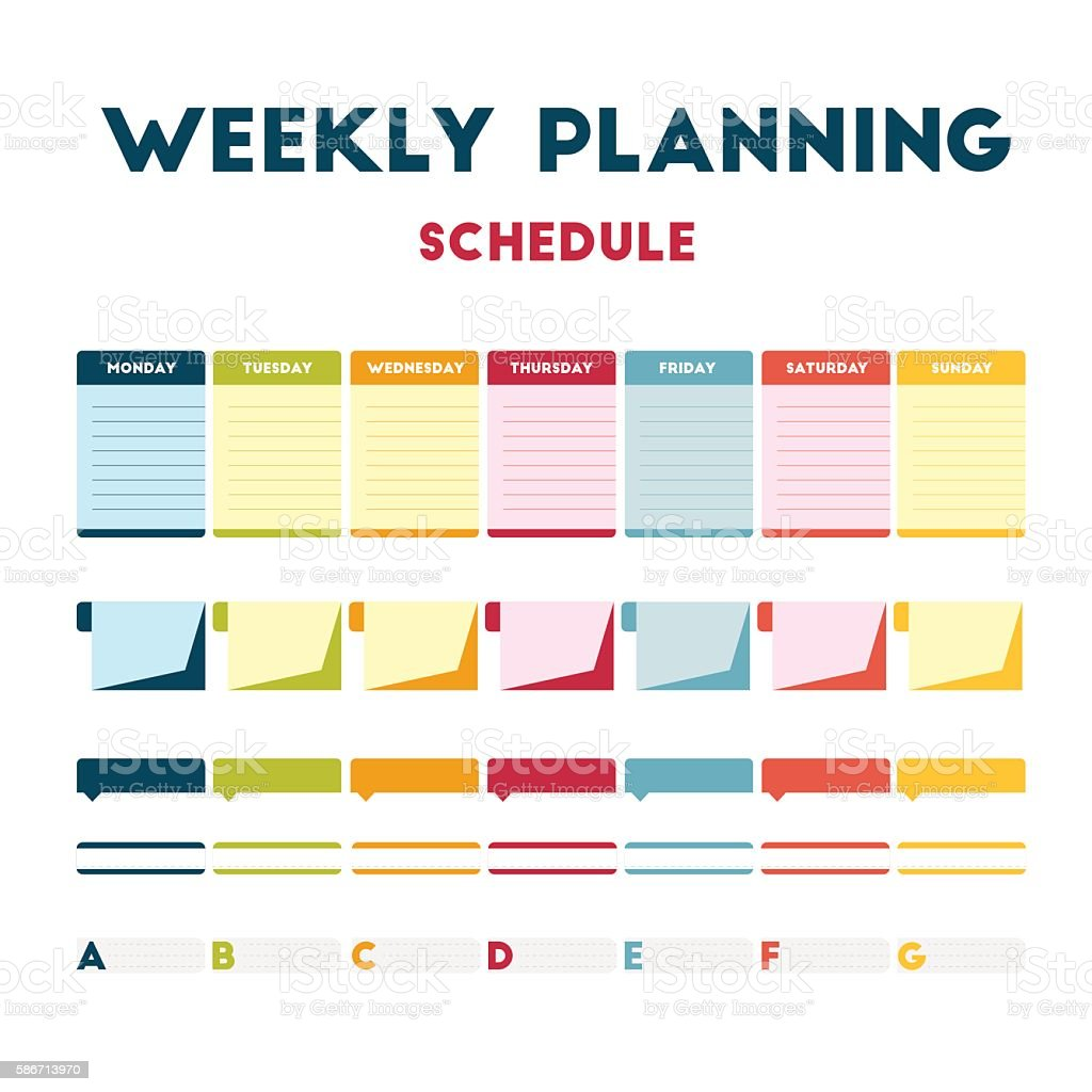 Weekly planning schedule vector art illustration