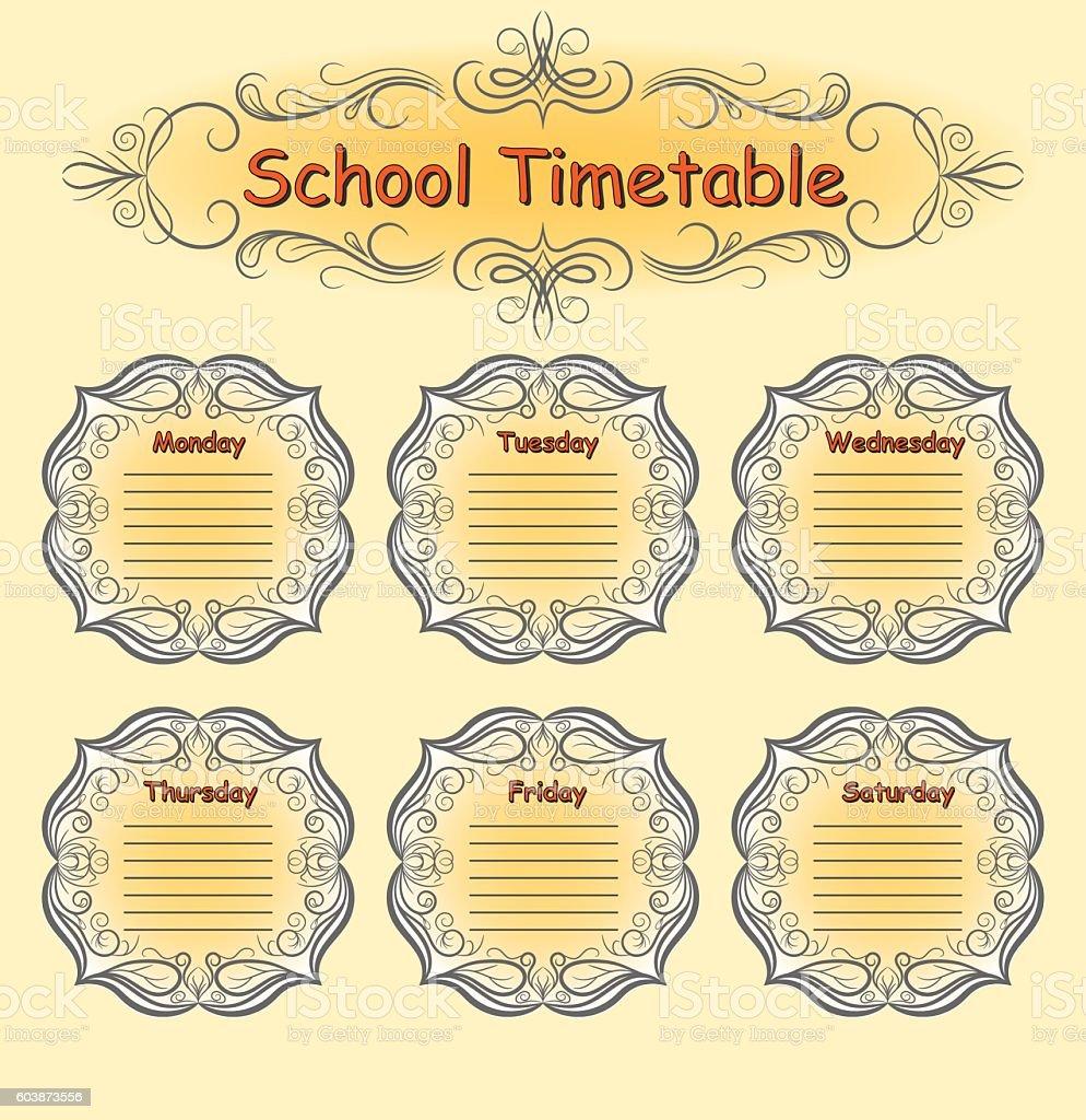 weekly school timetable schedule のイラスト素材 603873556 istock