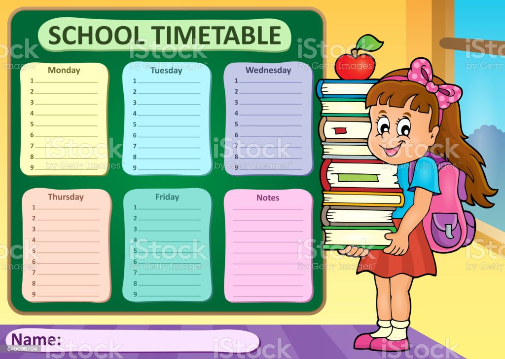 weekly school timetable theme 4 stock vector art more images of
