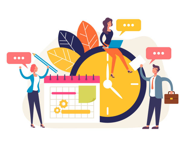 Wöchentliches Aufgabenmanagement-Konzept. Vektor flache Cartoon Grafik-Design isolierte Illustration – Vektorgrafik