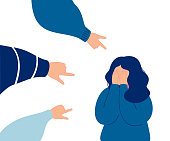 Depressed girl crying covering her face with her hands. Weeping woman emotions grief surrounded by hands with index fingers pointing at her, public censure and victim blaming. Human character vector