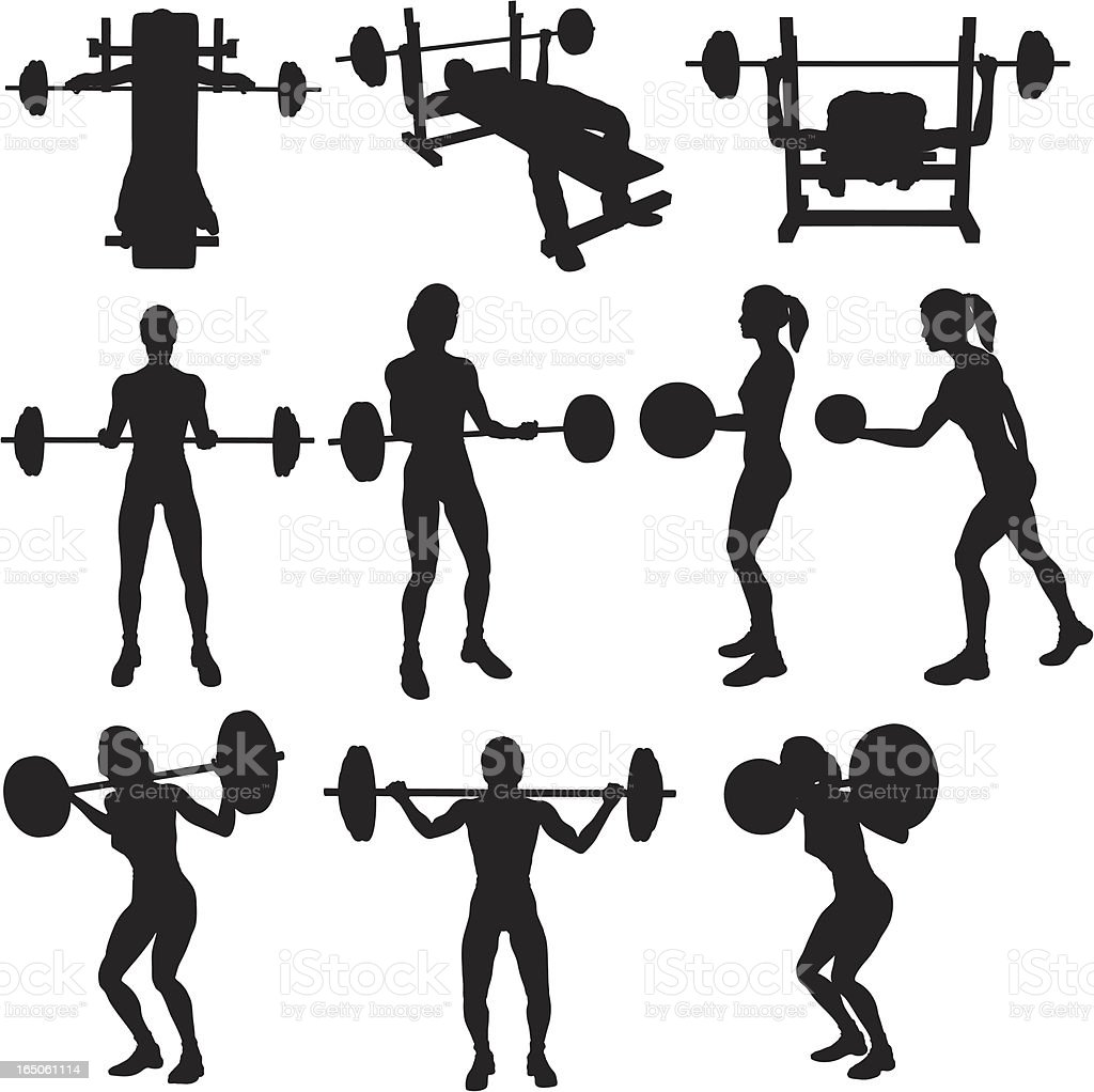 Weigh Lifting Silhouette Collection (vector+raster) vector art illustration