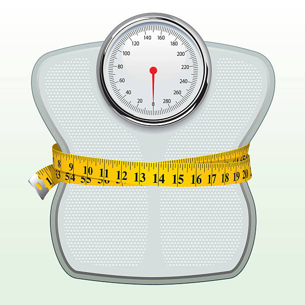Weighing Scales & Tape Measure Weighing scales. weight loss stock illustrations