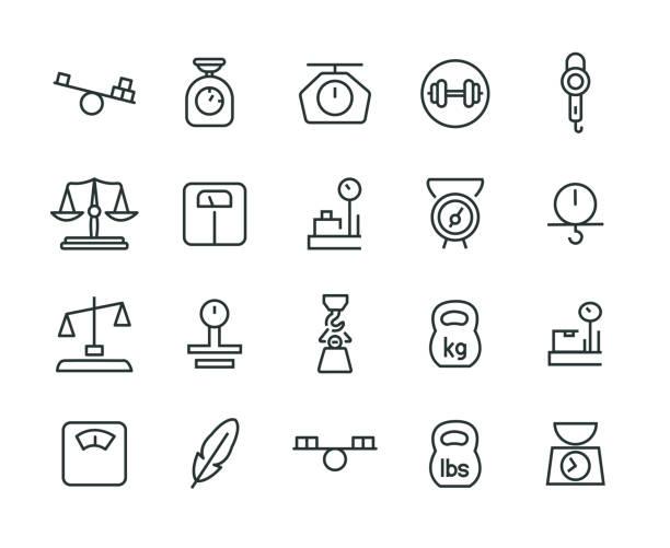 gewicht-icon-set - gleichgewicht stock-grafiken, -clipart, -cartoons und -symbole