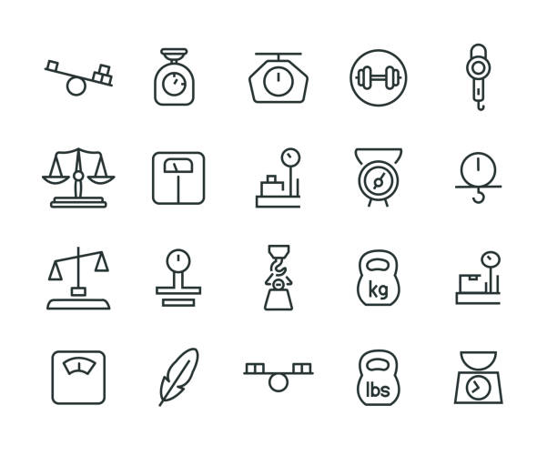 gewicht-icon-set - balance stock-grafiken, -clipart, -cartoons und -symbole