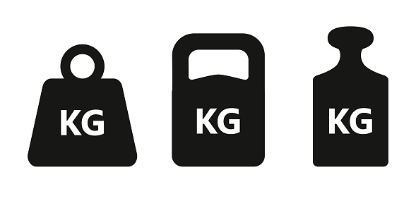 Weights graphic icons set. KG signs isolated on white background. Kilogram symbols. Vector illustration