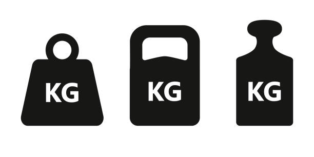 Weight icon set Weights graphic icons set. KG signs isolated on white background. Kilogram symbols. Vector illustration weight stock illustrations