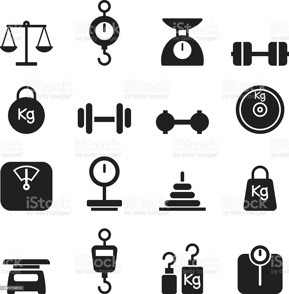 Weight icon set vector art illustration