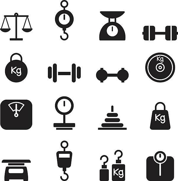 Weight icon set vector art illustration