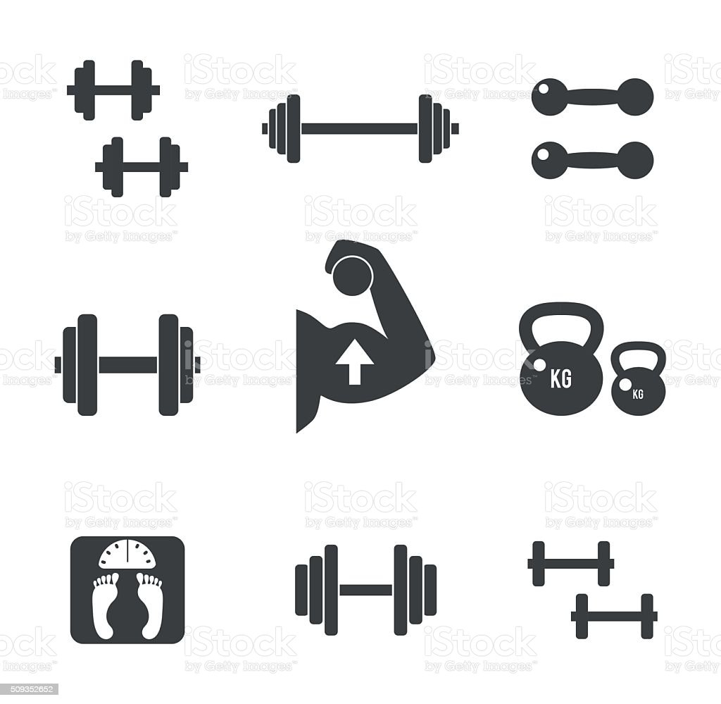 Weight icons set vector art illustration