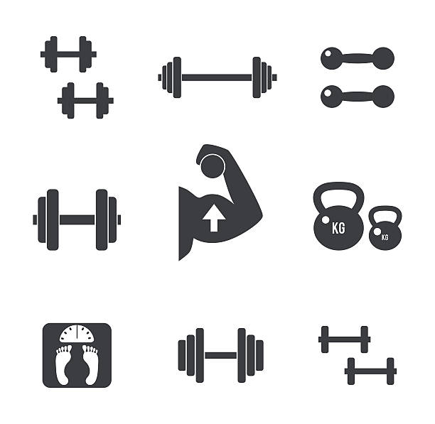 Weight icons set Set of weight kilogram barbell icons. Vector isolated bodybuilding, fitnes s icons set  weight stock illustrations