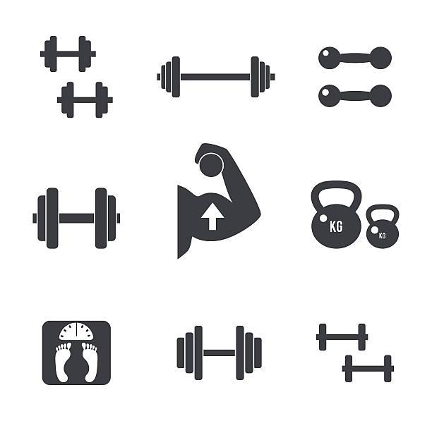 Weight icons set vector art illustration