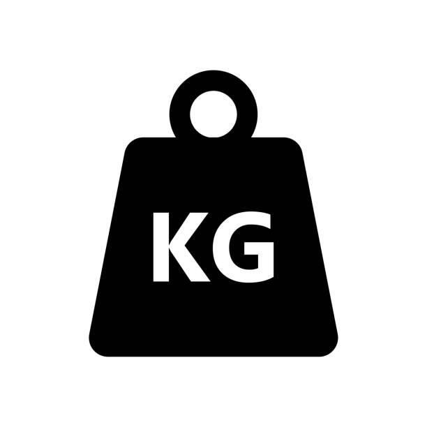 weight kilogram icon on white background - waga opis fizyczny stock illustrations