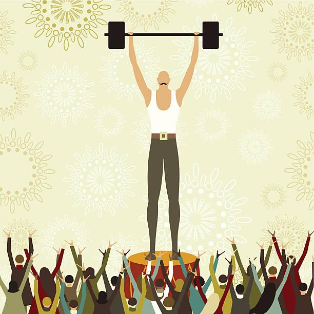 Weight lifter circus show vector art illustration