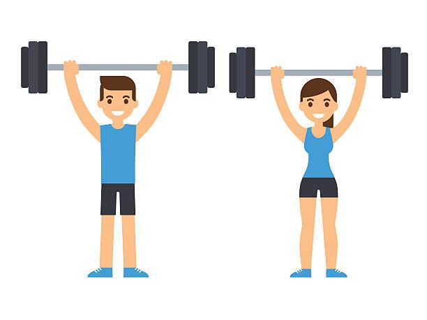 ilustraciones, imágenes clip art, dibujos animados e iconos de stock de weight lifting athletes - entrenamiento con pesas