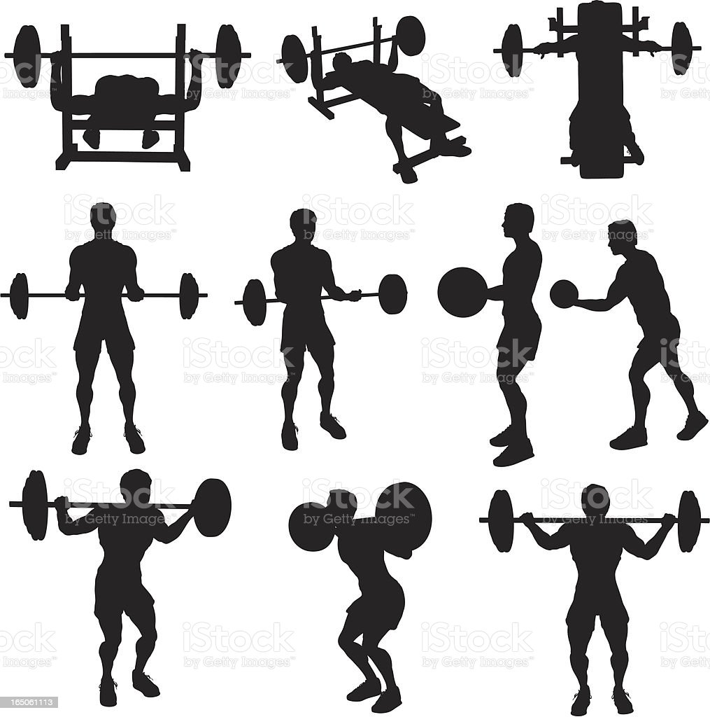 weight lifting silhouette collection royalty free stock vector art