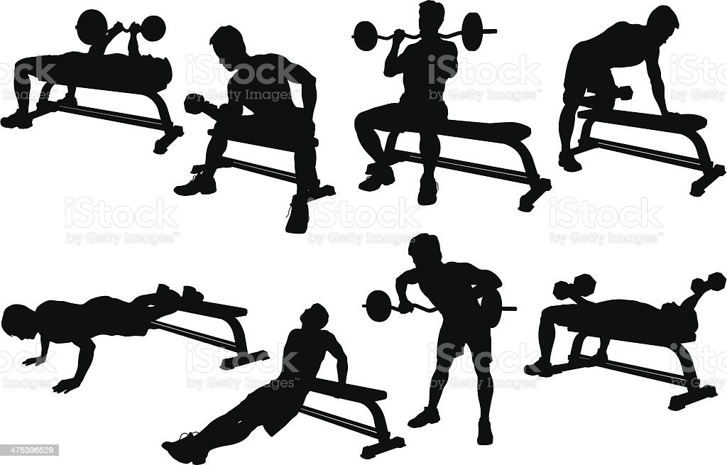 weight lifting silhouette royalty free stock vector art