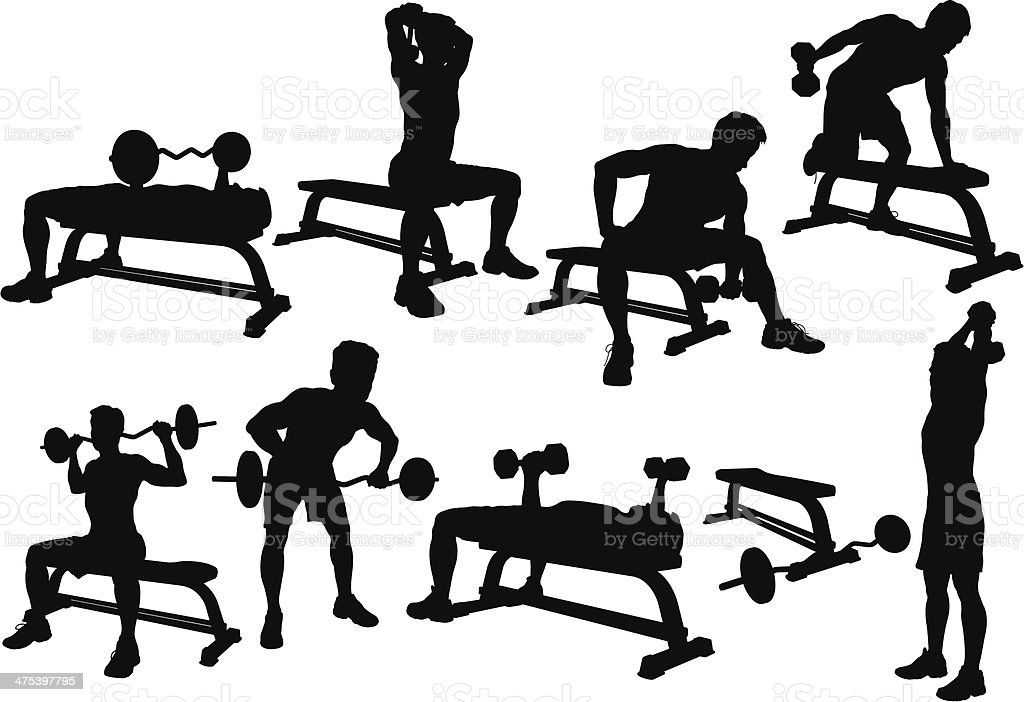 Weight Lifting Silhouette royalty-free weight lifting silhouette stock vector art & more images of adult