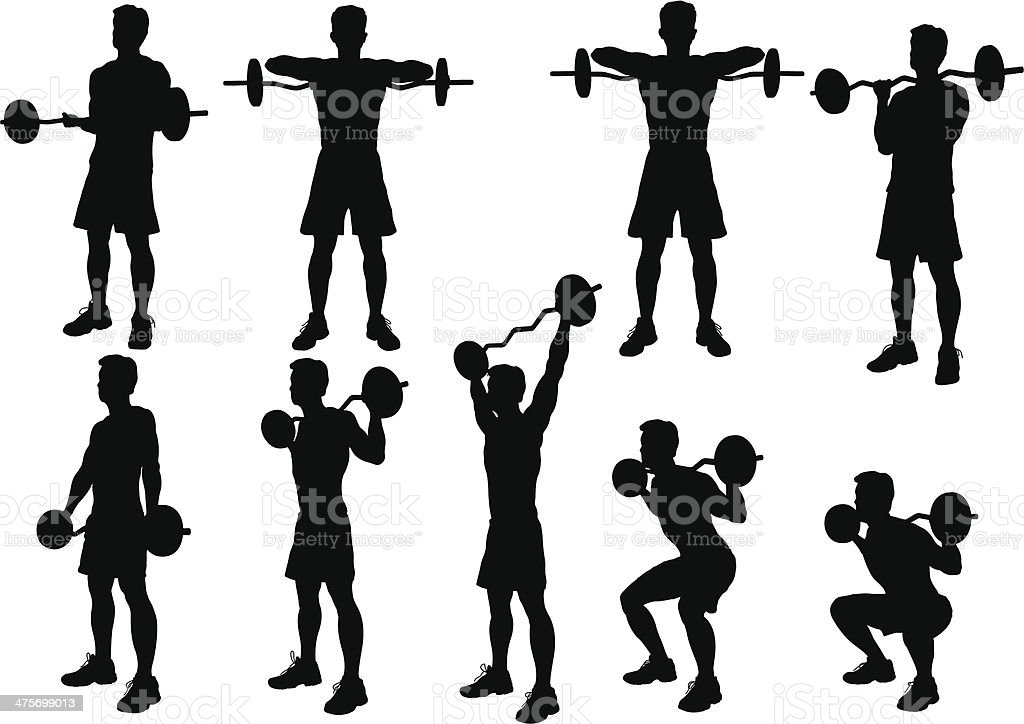 Weight Lifting Silhouette vector art illustration