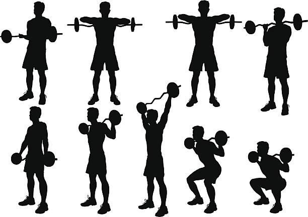 Silueta de levantamiento de peso - ilustración de arte vectorial