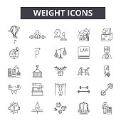 Weight line icons, signs, vector set, outline concept linear illustration