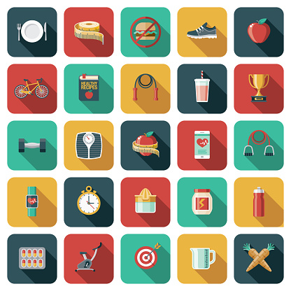 Weight Loss and Diet Icon Set
