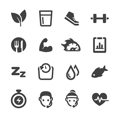 Weight Loss and Fitness Icons Set - Acme Series