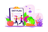 Tiny people fit couple training, nutrition control, diet plan and vegetables. Weight loss diet, low-carb diet, healthy meal food concept. Vector isolated concept creative illustration.