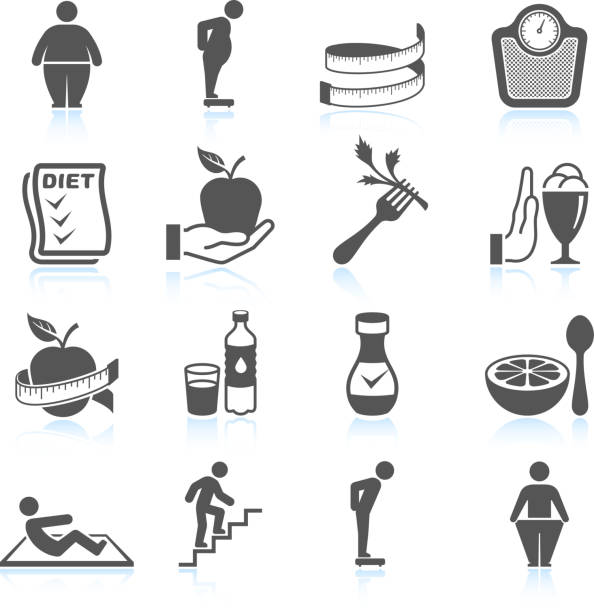 weight loss exercise diet and gym ector interface icon set weight loss black & white icon setGym workout and weight lifting black & white icon set weight loss stock illustrations